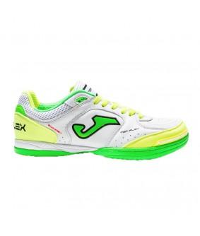 Chaussures pour adultes de futsal et de foot à 5 Top flex jaune blanche et verte JOMA