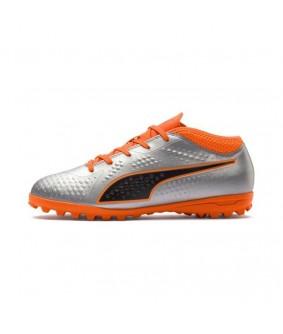 Chaussures pour enfants de Futsal et Foot à 5 grise et orange One 4 Syn TT Jr Puma